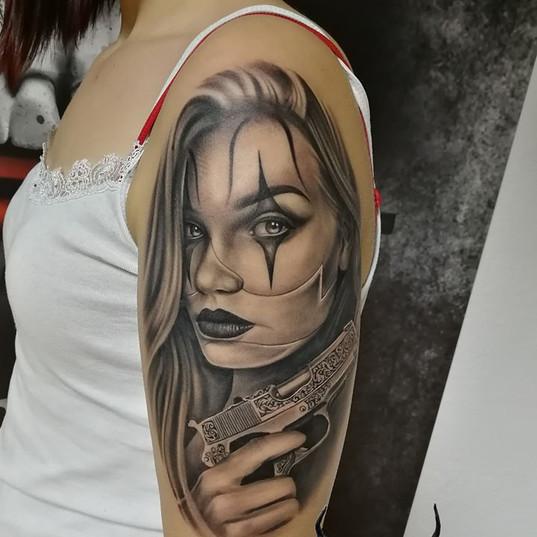 realistic clown girl tattoo.jpg