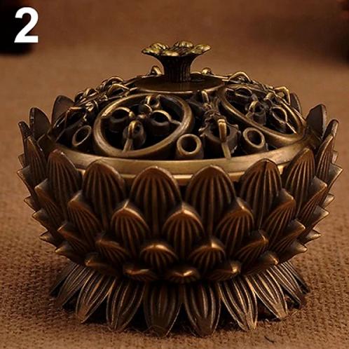 Lotus Shape Zinc-Copper Alloy Incense Burner