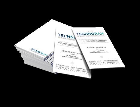 Réalisation de l'identité visuelle de l'entreprise Technoram, spécialisée dans la purification de l'air, par le dépoussiérage et la décontamination des réseaux de ventilations.