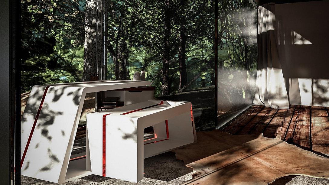 Conception d'un bureau minimal à assise intégrée