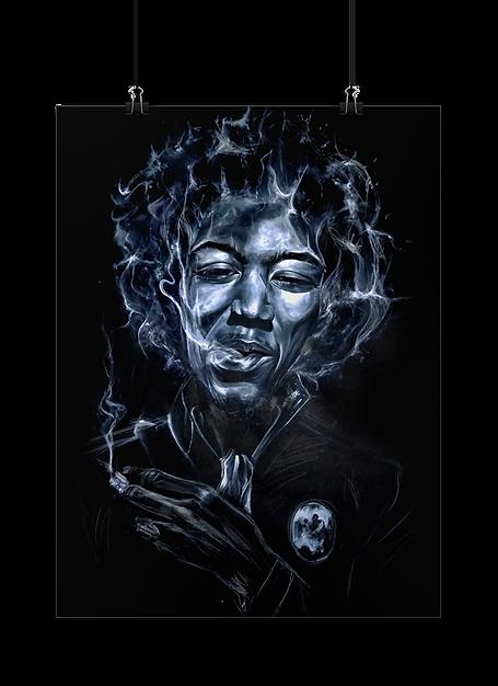 Portrait blanc sur fond noir de Jimi Hendrix