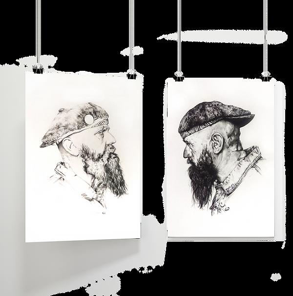 Recherches graphiques et réalisation d'une série de portraits en noir et blanc, et par le biais de techniques mixtes.