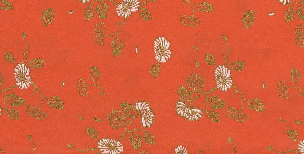 """ラッピングペーパー""""Flower in Orange""""+リボン"""