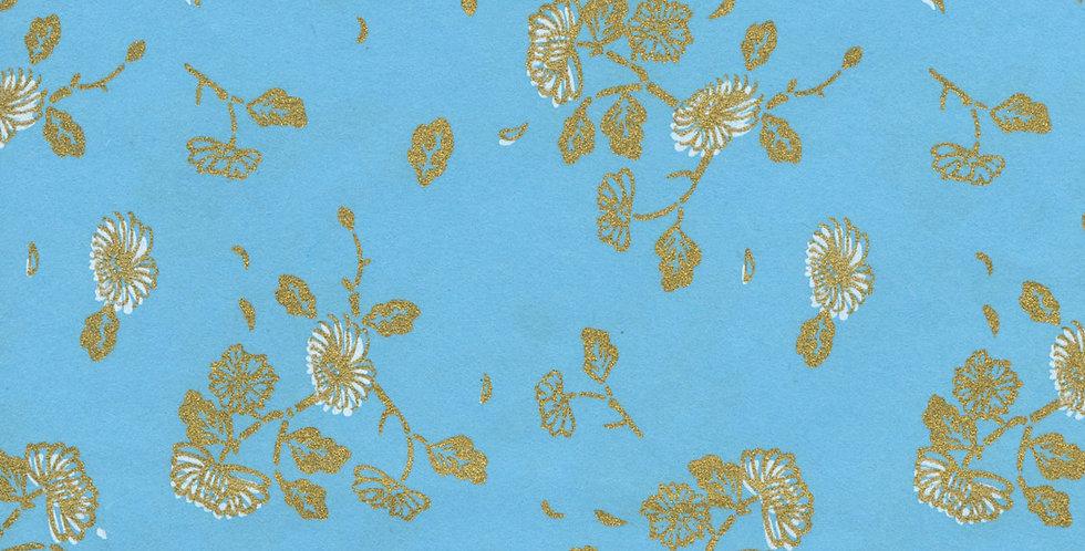 """ラッピングペーパー""""Flower in Turquoise""""+リボン"""