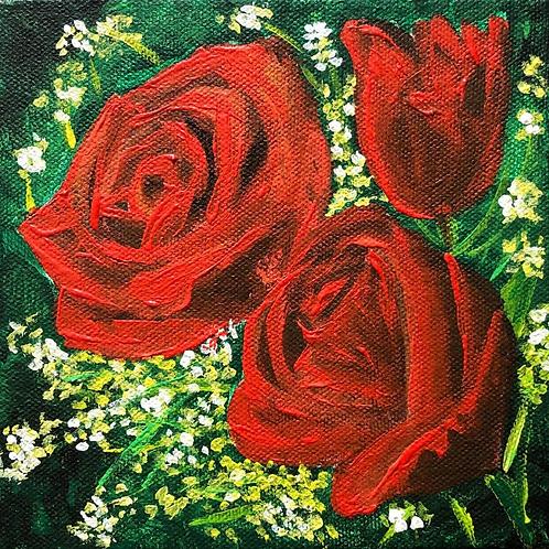 """Roses - 6""""x6"""" Acrylic on Canvas"""