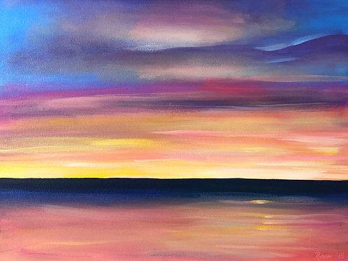 "Orange Sky - 18""x24"" Acrylic on Canvas"