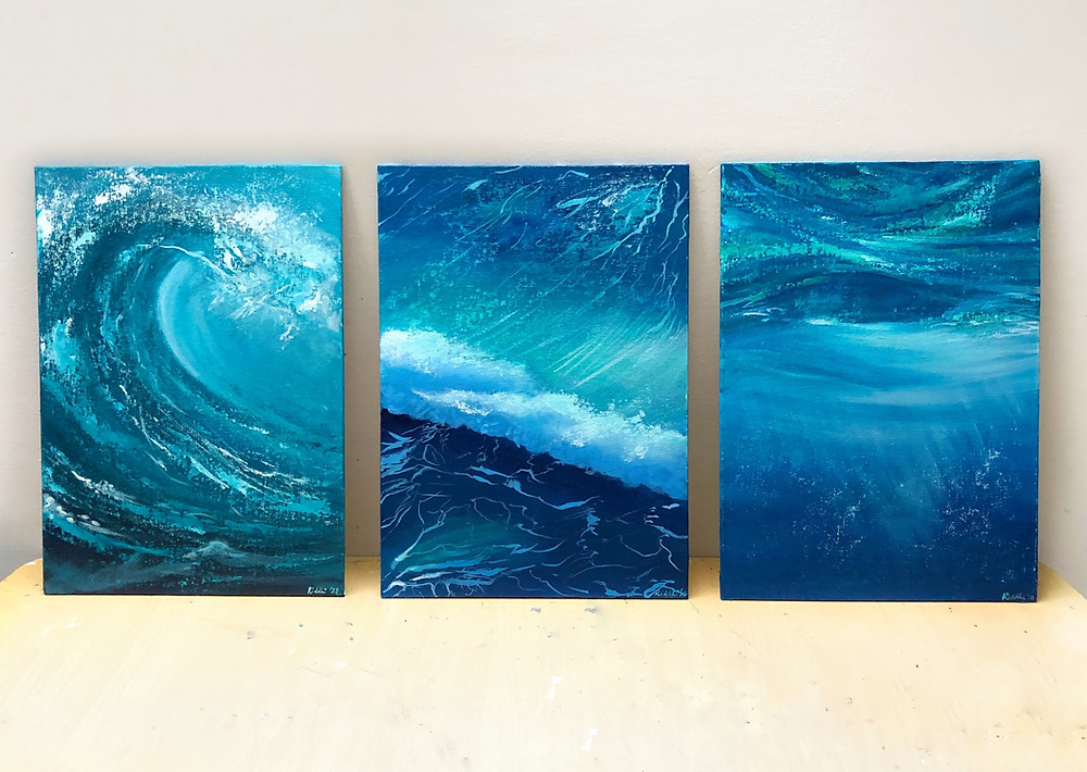 Seascape paintings, set of 3 for home decor, ocean paintings of waves acrylic on canvas