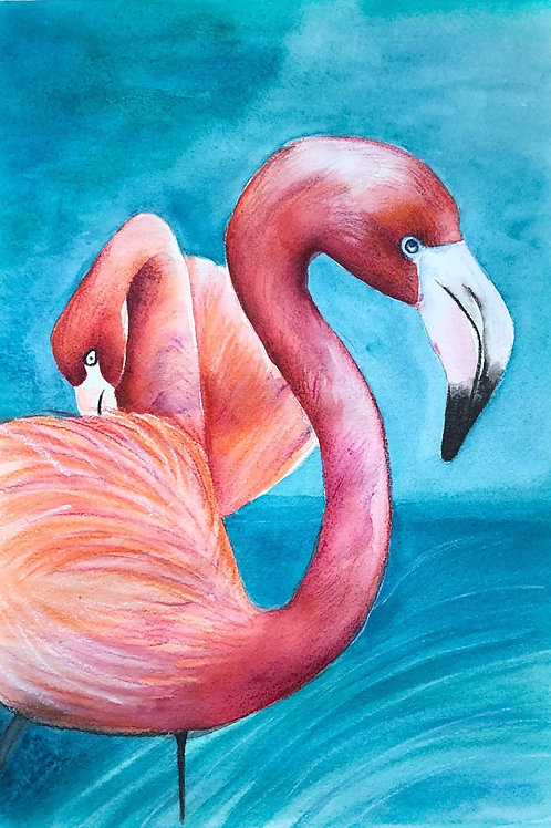 """Flamingos in Ink - 8""""x12"""""""