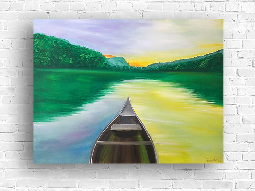 """Boat in a Lake - 18""""x24"""" Acrylic on Canvas"""
