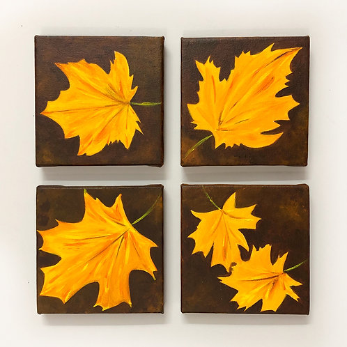 """Maple Painting- Set of 4, 6""""x6"""" Each Acrylic on Canvas"""