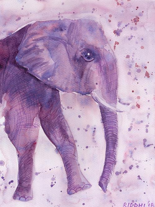 "Purple Elephant - 8""x12"" Art Print"