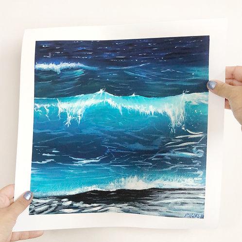 "Ocean Wave -12""x12"" Fine Art Print"