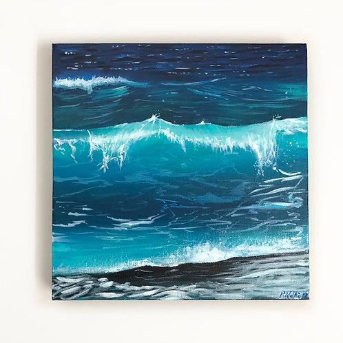 """Ocean Wave - 12""""x12"""" Acrylic on Canvas"""