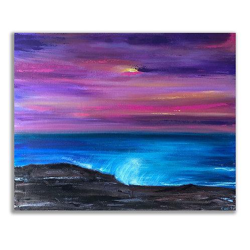 "Pink Sunset - 24""x36"" Acrylic on Canvas"
