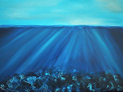 """Underneath The Surface - 12""""x16"""" Acrylic on Canvas"""