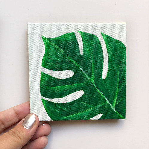 "Little Leaf Painting - 4""x4"" Tile"