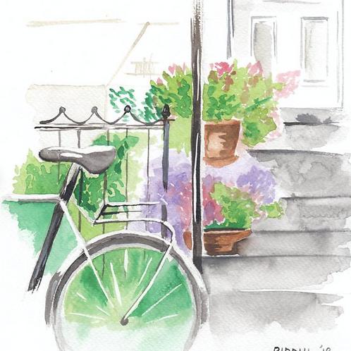 "Bicycle Painting - 10""x10"" Art Print"