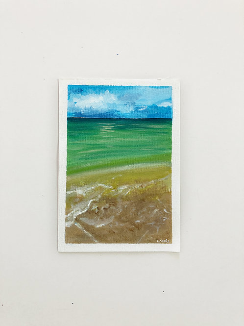 """6""""x8"""" // Seascape Painting Beach Water"""