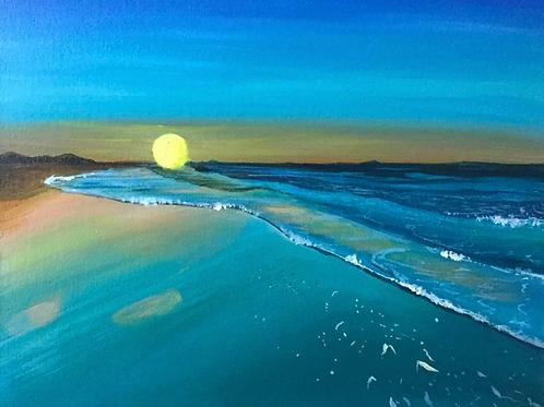 """The Blue Sunset - 14""""x18"""" Acrylic on Canvas"""