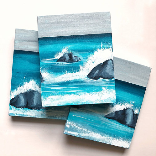 """Seascape Triptych - Three Canvases - 8""""x10"""