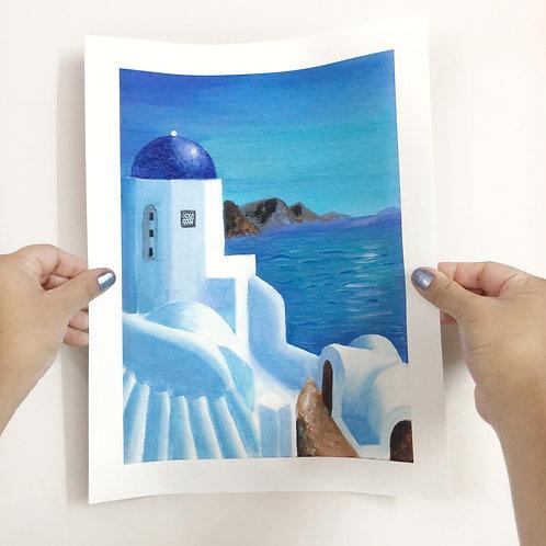 "Greece Painting - 9""x12"" Art Print"