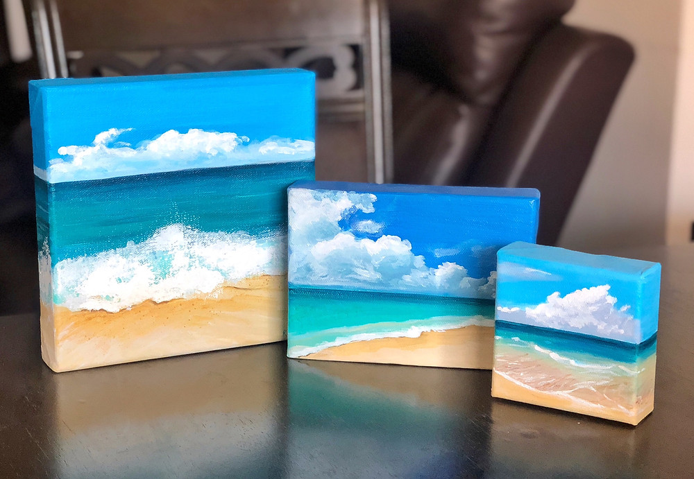 Acrylic on canvas, desk decor, original paintings of ocean and seascapes