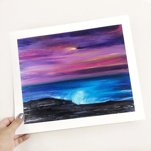 """Purple Skies - 9""""x12"""" Fine Art Print"""