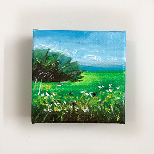 """Lanscape - MADE TO ORDER - 4""""x4"""" Acrylic on box canvas"""