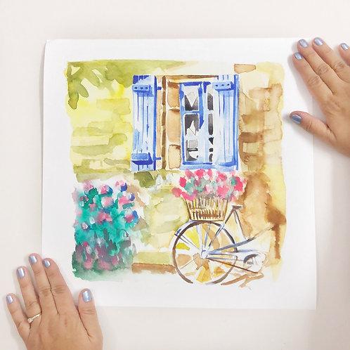 "Bicycle & Window - 12""x12"" Art Print"