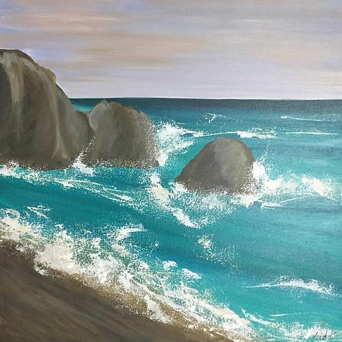 """Safe Rocks - 24""""x24"""" Acrylic on Canvas"""