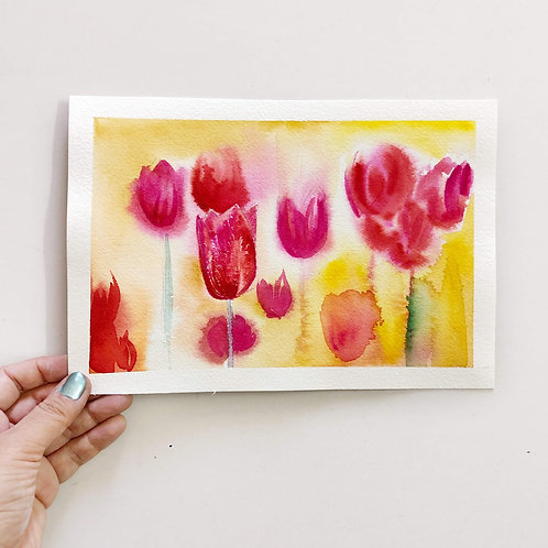 "10""x7"" // Original Watercolour Tulips Painting // By Riddhi Malhotra"