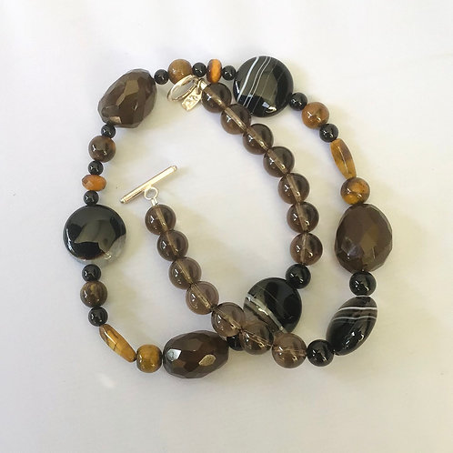 Smoky Quartz/multi gem necklace