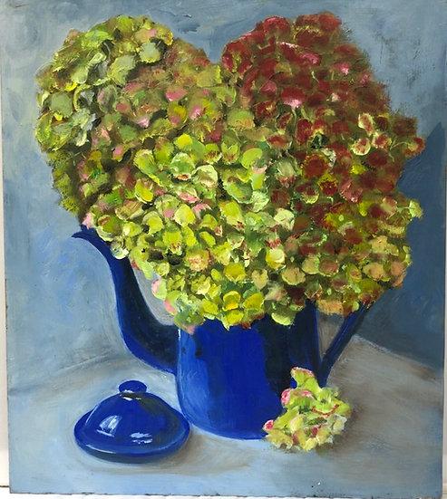 Blue Coffee Pot Green Hydrangeas