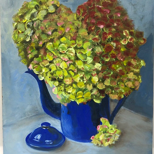 Blue Coffee Pot Green Hydrangeas