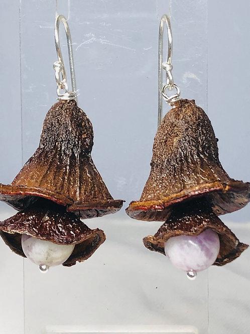 Gum nut earrings with  purple jade