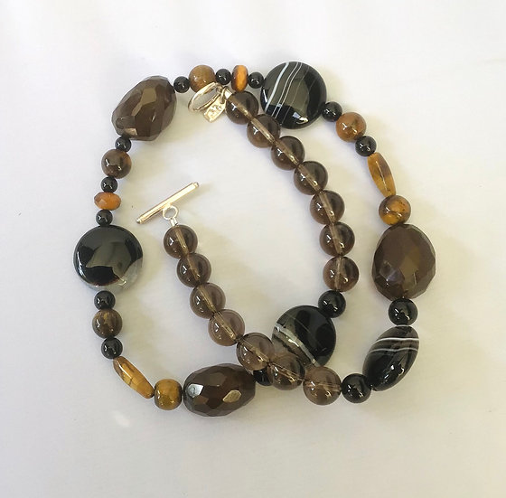 Smoky  quartz  and banded agate necklace
