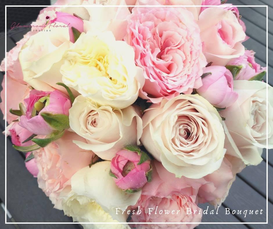 米白庭園玫瑰粉紅玫瑰鮮花花球