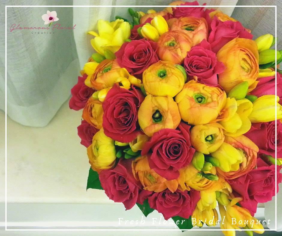 桃紅玫瑰橙小牡丹香雪蘭鮮花花球