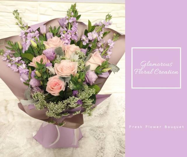 粉紅玫瑰桔梗鮮花花束