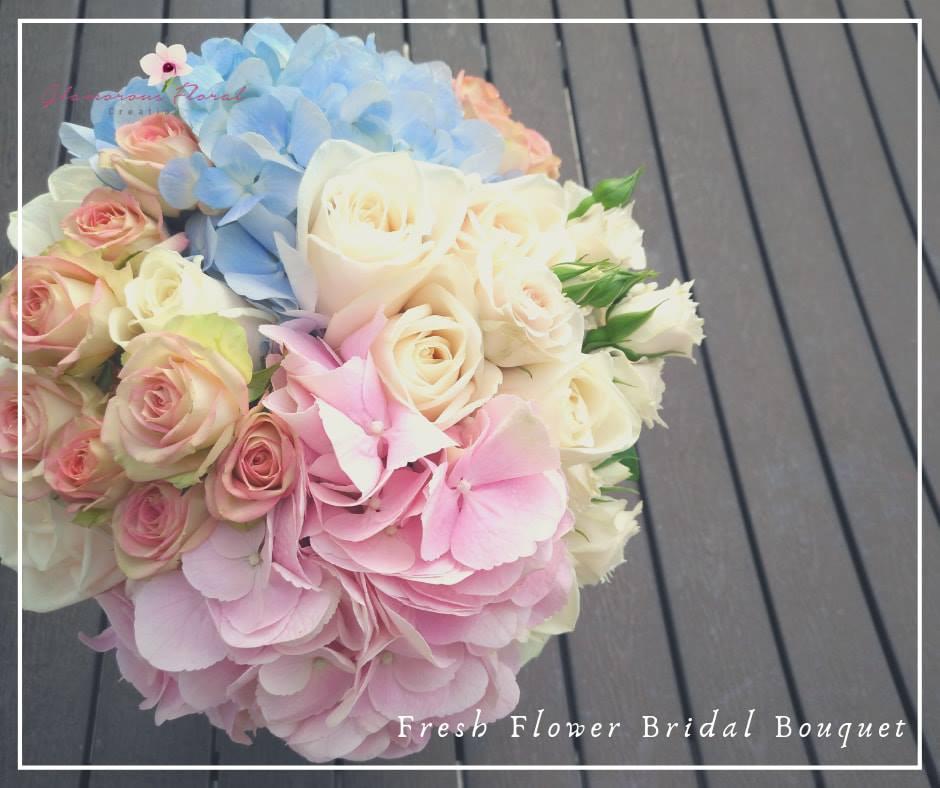粉藍粉紅繡球小玫瑰鮮花花球