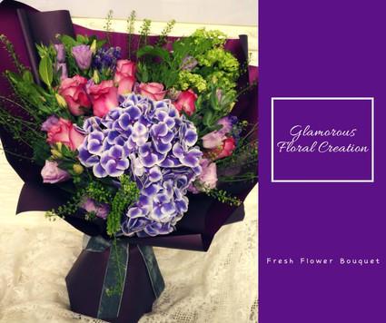 紫玫瑰繡球桔梗鮮花花束