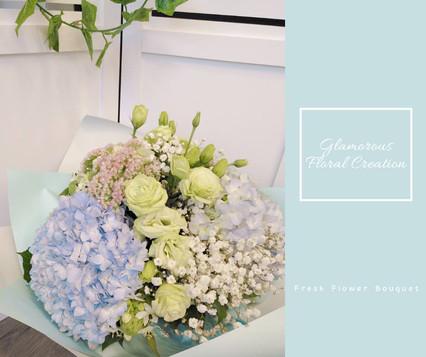 粉藍繡球滿天星鮮花花束
