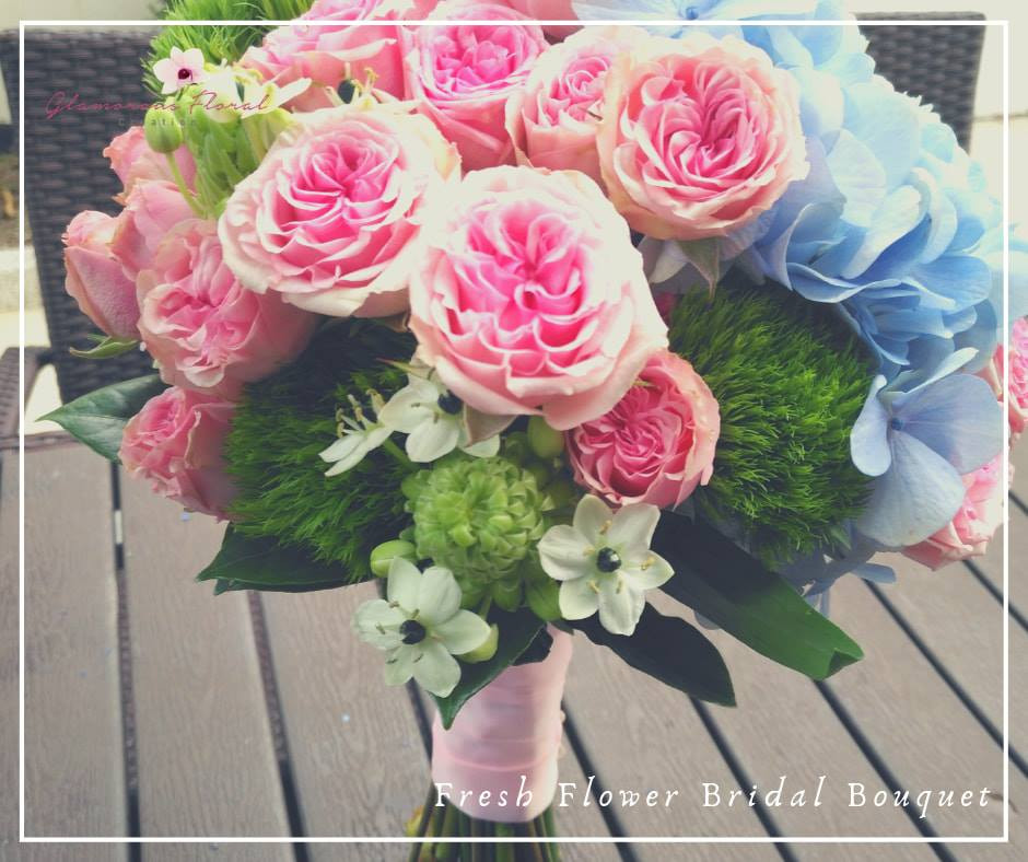 粉藍繡球粉紅小玫瑰綠毛球鮮花花球