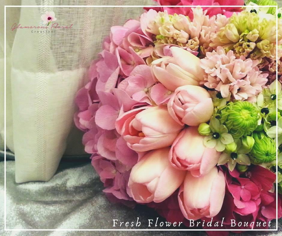 桃紅粉紅繡球鬱金香鮮花花球