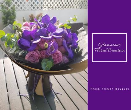 萬代蘭紫玫瑰鮮花花束