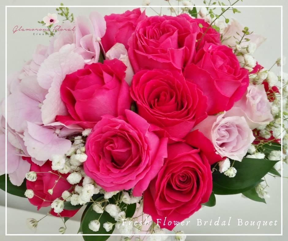 桃紅玫瑰粉紅繡球鮮花花球