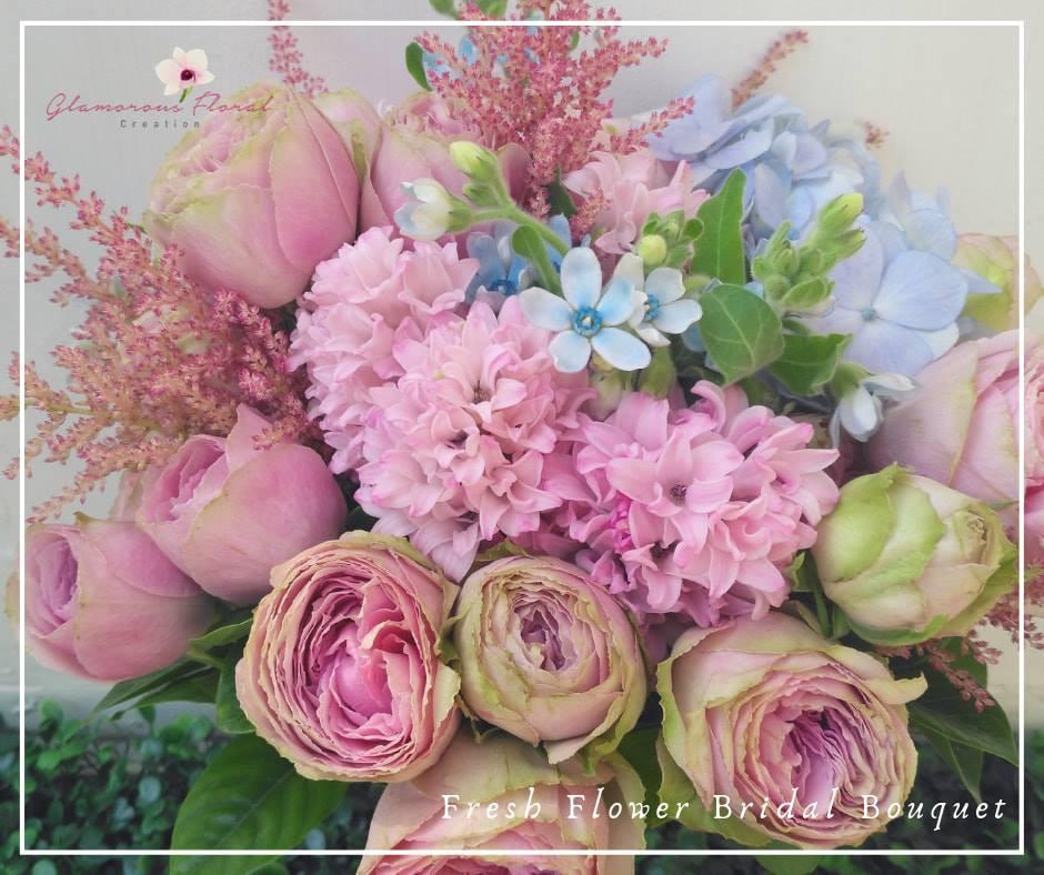 粉藍繡球風信子小玫瑰鮮花花球