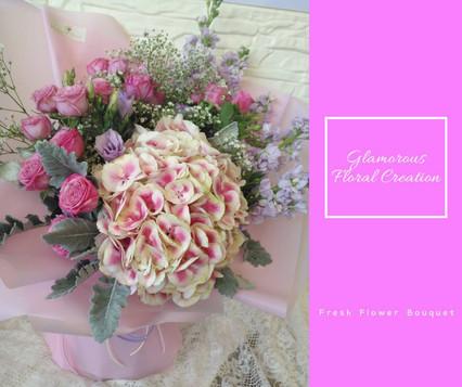粉紅繡球紫小玫瑰鮮花花束