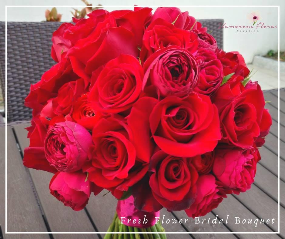 紅玫瑰小玫瑰鮮花花球
