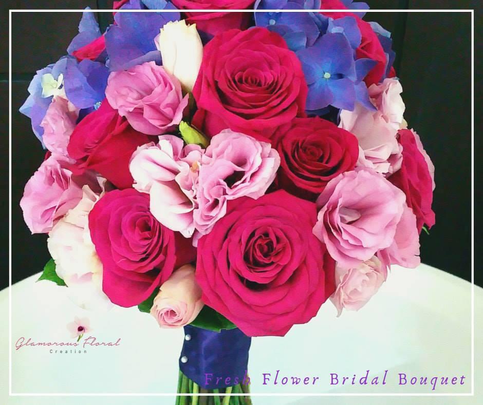 桃紅玫瑰粉紅桔梗紫繡球鮮花花球